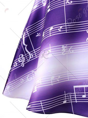 Fancy Sleeveless Music Notes Print 50s Swing Dress - XL PURPLE Mobile