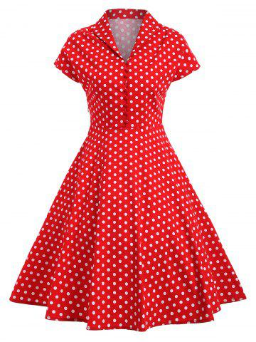 Trendy Polka Dot Button Vintage Pin Up Dress - S RED Mobile