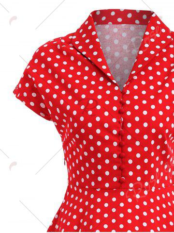 Unique Polka Dot Button Vintage Pin Up Dress - S RED Mobile