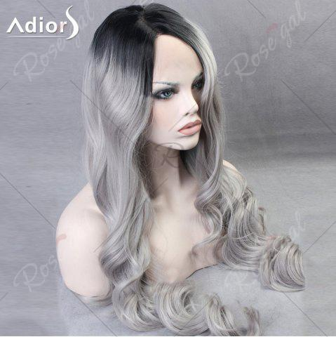 Unique Ultra Long Side Part Colormix Gradient Body Wave Synthetic Wig - BLACK AND GREY  Mobile