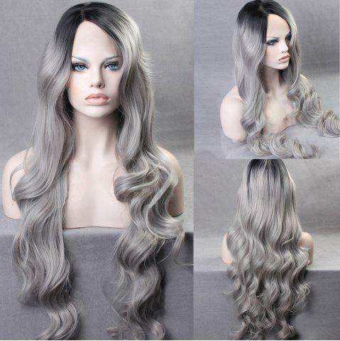 Latest Ultra Long Side Part Colormix Gradient Body Wave Synthetic Wig - BLACK AND GREY  Mobile