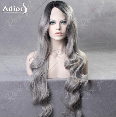 Shop Ultra Long Side Part Colormix Gradient Body Wave Synthetic Wig - BLACK AND GREY  Mobile
