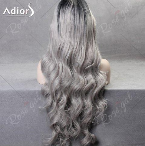 Best Ultra Long Side Part Colormix Gradient Body Wave Synthetic Wig - BLACK AND GREY  Mobile