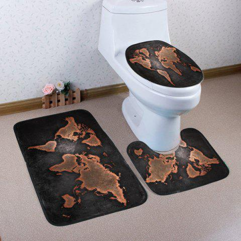 Cheap World Map Pattern 3 Pcs Bath Mat Toilet Mat