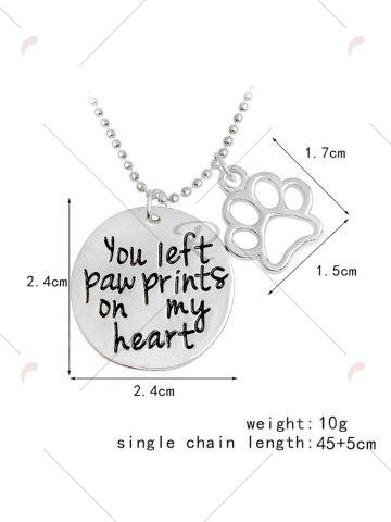 Discount Claw Footprint Round Engraved Heart Necklace - SILVER  Mobile