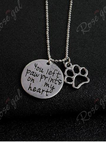 Shop Claw Footprint Round Engraved Heart Necklace - SILVER  Mobile