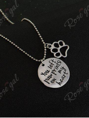 Best Claw Footprint Round Engraved Heart Necklace - SILVER  Mobile
