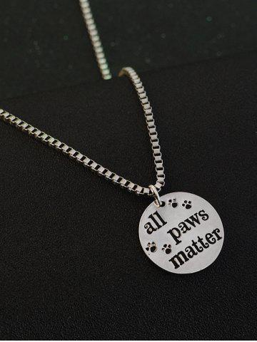 Best Engraved Paws Footprint Round Pendant Necklace - SILVER  Mobile