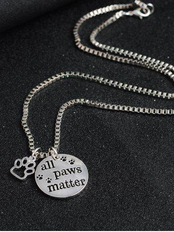 Discount Engraved Paws Footprint Round Pendant Necklace - SILVER  Mobile