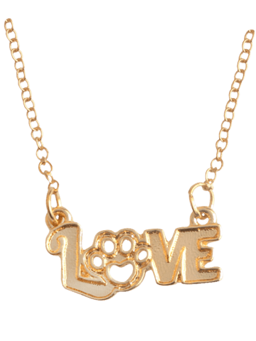 Hot Heart Claw Footprint Love Pet Necklace - GOLDEN  Mobile