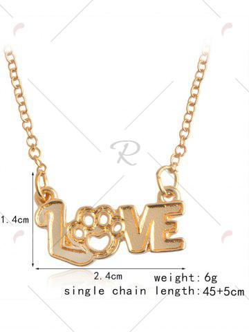 Discount Heart Claw Footprint Love Pet Necklace - GOLDEN  Mobile