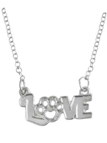 Best Heart Claw Footprint Love Pet Necklace - SILVER  Mobile