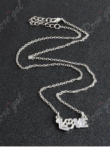 Discount Heart Claw Footprint Love Pet Necklace - SILVER  Mobile