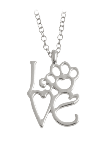 Outfits Love Pet Heart Paw Footprint Necklace - SILVER  Mobile