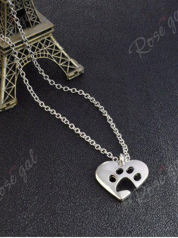 Shop Cute Claw Footprint Heart Pendant Necklace - SILVER  Mobile