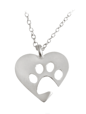 Trendy Cute Claw Footprint Heart Pendant Necklace
