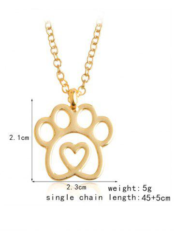 Chic Claw Heart Footprint Pet Pendant Necklace - GOLDEN  Mobile