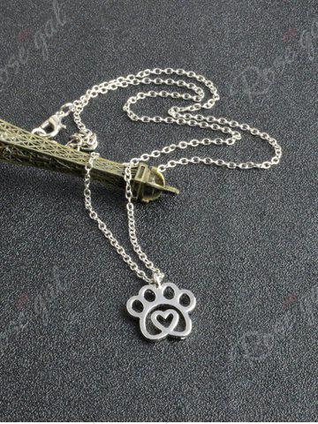 Chic Claw Heart Footprint Pet Pendant Necklace - SILVER  Mobile