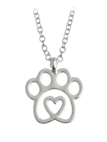 Unique Claw Heart Footprint Pet Pendant Necklace - SILVER  Mobile