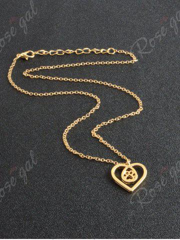 Discount Heart Claw Footprint Teardrop Necklace - GOLDEN  Mobile