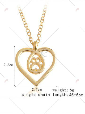 Outfits Heart Claw Footprint Teardrop Necklace - GOLDEN  Mobile