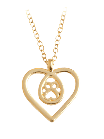 Chic Heart Claw Footprint Teardrop Necklace - GOLDEN  Mobile