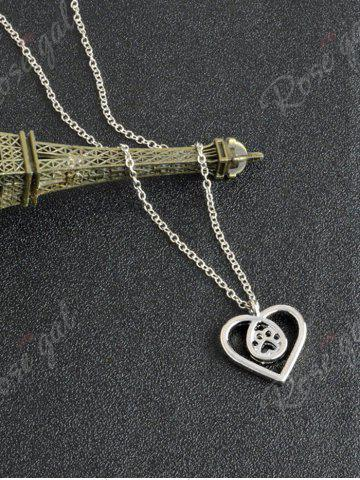 Outfits Heart Claw Footprint Teardrop Necklace - SILVER  Mobile