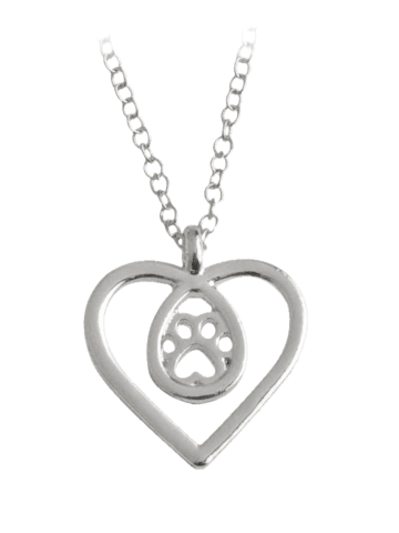 Discount Heart Claw Footprint Teardrop Necklace SILVER