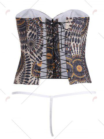 Hot Steel Boned Jacquard Lace Up Corset - S LIGHT COFFEE Mobile