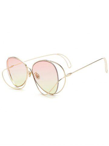 Outfit Anti UV Metallic Curve Surround Ombre Sunglasses LIGHT PINK