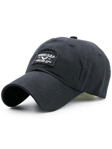 Affordable Sunscreen Letters Patchwork Baseball Cap - BLACK  Mobile