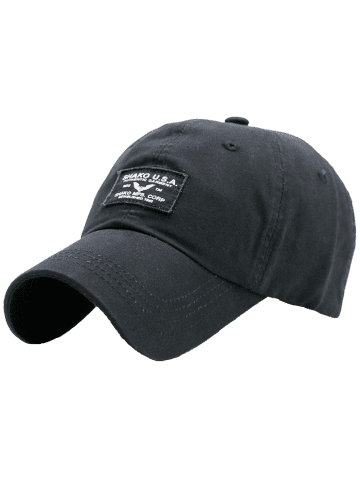 Best Sunscreen Letters Patchwork Baseball Cap - BLACK  Mobile