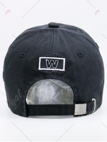 Shop Sunscreen Letters Patchwork Baseball Cap - BLACK  Mobile