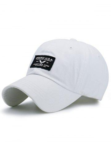 Fancy Sunscreen Letters Patchwork Baseball Cap - WHITE  Mobile