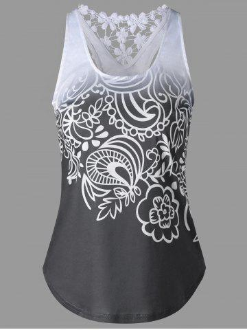 Trendy Lace Insert Ombre Printed Tank Top MOUSE GREY M