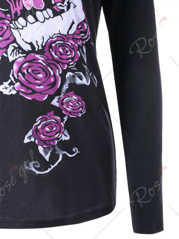 Store Skull and Butterfly Long Sleeve Top - 2XL BLACK Mobile