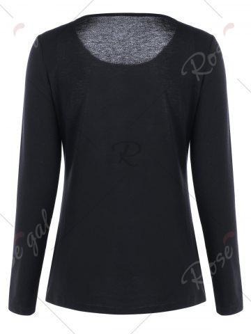 Outfits Skull and Butterfly Long Sleeve Top - 2XL BLACK Mobile