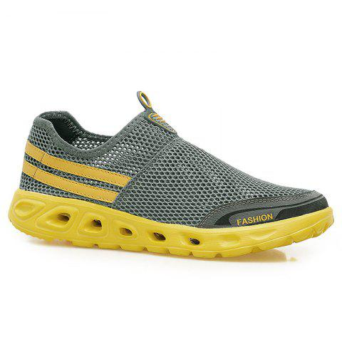 Outfits Color Block Mesh Slip On Sneakers - 43 GRAY Mobile
