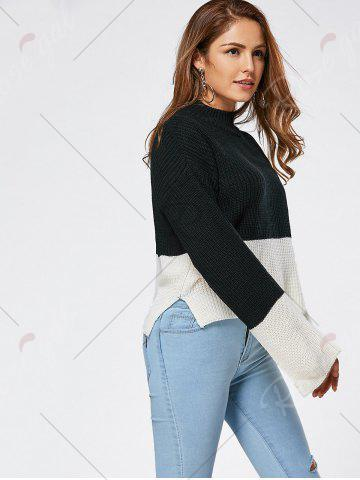 Latest Drop Shoulder Two Tone High Low Sweater - ONE SIZE BLACK Mobile