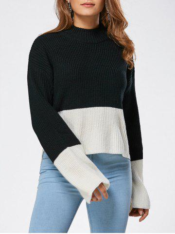 Shop Drop Shoulder Two Tone High Low Sweater BLACK ONE SIZE