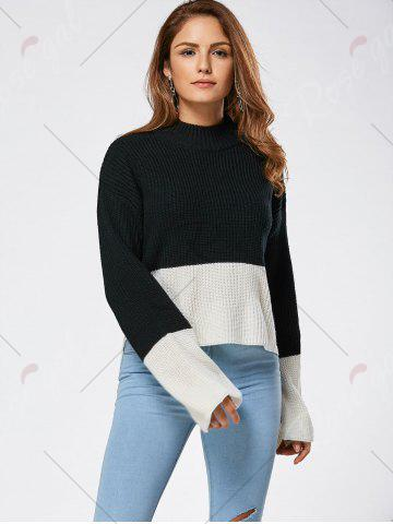 Outfit Drop Shoulder Two Tone High Low Sweater - ONE SIZE BLACK Mobile