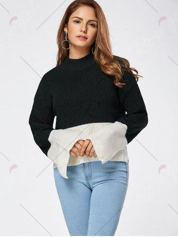 Online Drop Shoulder Two Tone High Low Sweater - ONE SIZE BLACK Mobile