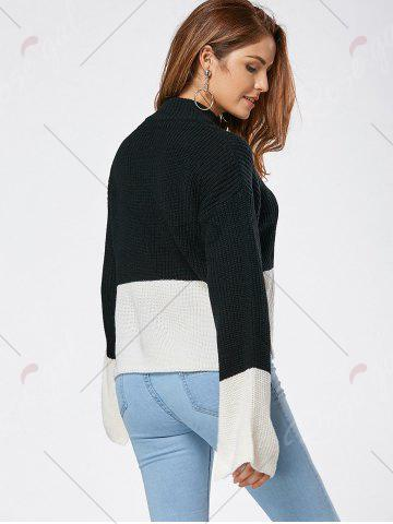 Outfits Drop Shoulder Two Tone High Low Sweater - ONE SIZE BLACK Mobile