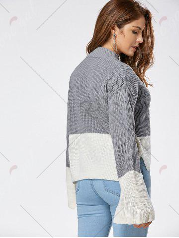 Shops Drop Shoulder Two Tone High Low Sweater - ONE SIZE GRAY Mobile