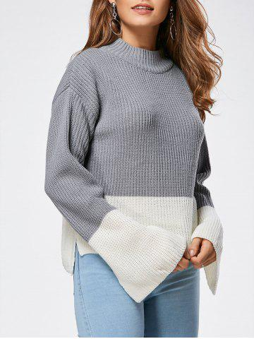 Drop Shoulder Two Tone High Low Sweater - Gray - One Size