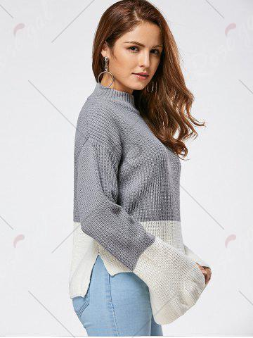 Fashion Drop Shoulder Two Tone High Low Sweater - ONE SIZE GRAY Mobile