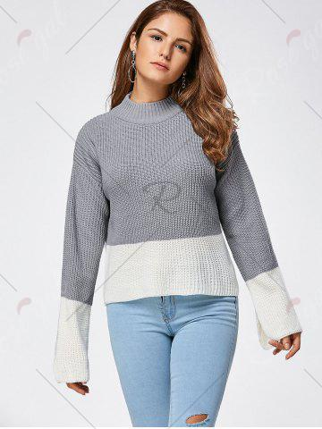 Affordable Drop Shoulder Two Tone High Low Sweater - ONE SIZE GRAY Mobile
