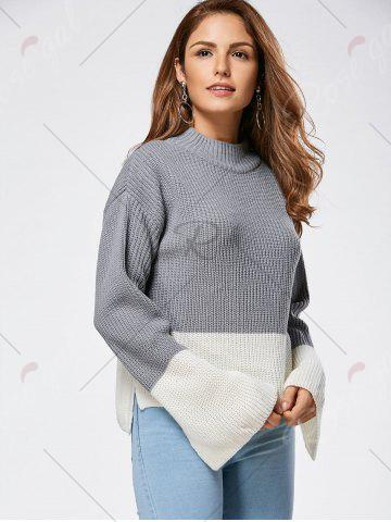 Hot Drop Shoulder Two Tone High Low Sweater - ONE SIZE GRAY Mobile