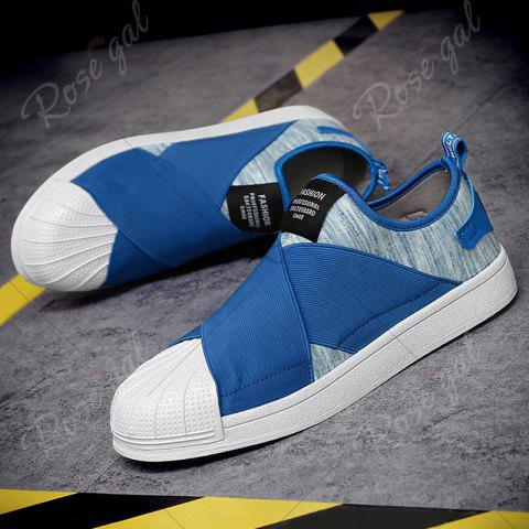 Shop Elastic Band Stretch Fabric Casual Shoes - 43 BLUE Mobile
