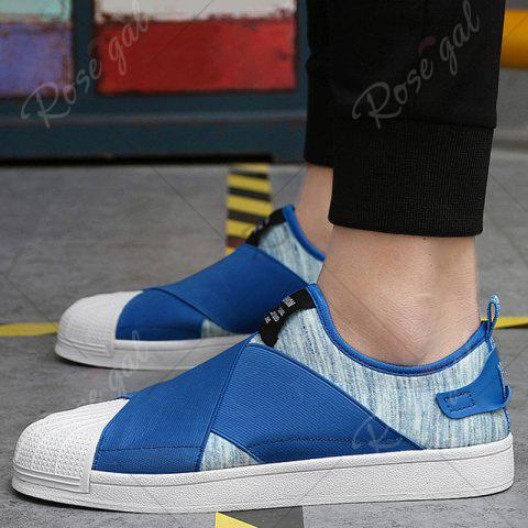 Discount Elastic Band Stretch Fabric Casual Shoes - 43 BLUE Mobile